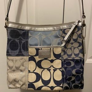 Denim blue and white canvas purse